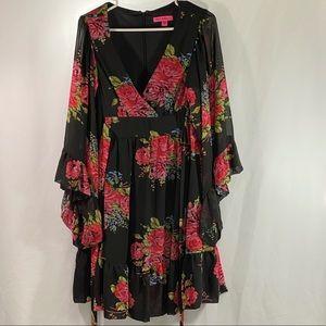 Betsy Johnson Long Sleeve Floral Ruffle Dress